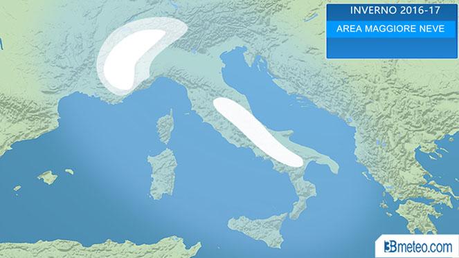 Tendenza Inverno, le zone a maggiore probabilità di neve